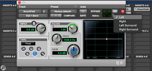 Having unlinked the channels in this quad multi-mono EQ plug-in, I am now able to set it up differently for each of the four channels.