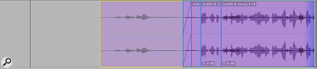 Screen 1: Layered Editing in Pro Tools 12.6 provides visual warnings when you're about to obscure clips on a track by moving another clip over them. The blue shading at the right indicates that further clips off screen will also be affected.
