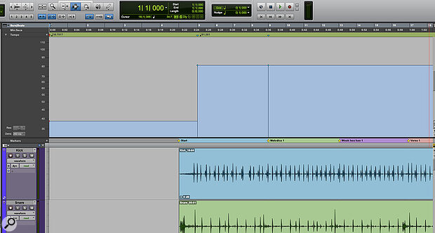 Once you've identified the beats of the first four bars, the Tempo Track will change to reflect that section's tempo.