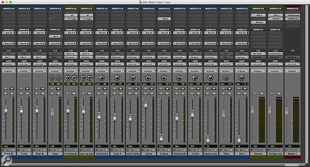 The Mix window from my 11-year-old session. Note that some tracks are greyed out.