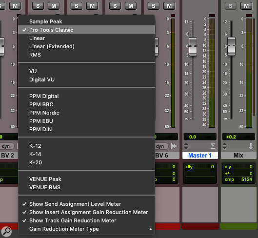Pro Tools now supports a  huge variety of metering standards, and master faders can use a  different setting from other tracks.