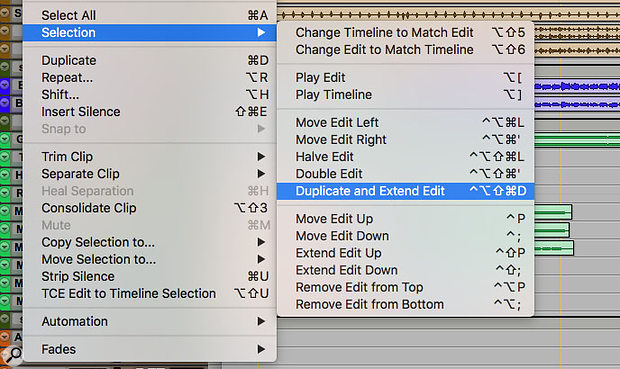 The new Duplicate and Extend Edit command helps create multiple copies of aclip or selection.