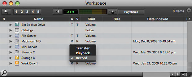 Setting your system drive to playback‑only in the Workspace browser can help to prevent accidents.