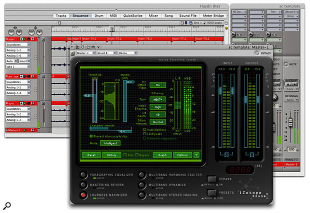 Dither is a de rigeur process when making a 16-bit copy of a sequence recorded at 24-bit. Here an iZotope Ozone 3 plug-in running on a Master Fader Track is shown applying MBIT  dither to a classical multitrack mix.