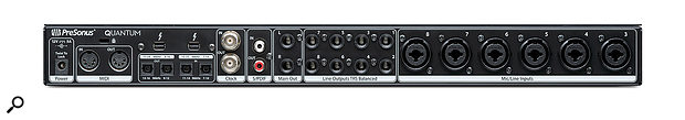 The Quantum's rear panel is jam-packed with twin Thunderbolt 2 ports, MIDI I/O, optical I/O and a host of balanced audio inputs and outputs.