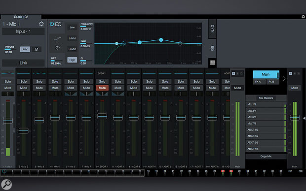 The main UC Surface display, with the context–dependent top half of the screen showing the Fat Channel EQ window for mic input 1. Talkback configuration lurks behind the small white arrow at the extreme right, and you access the headphone routing configuration options by touching the icon at the top of the Main fader. This took me a  while to figure out!