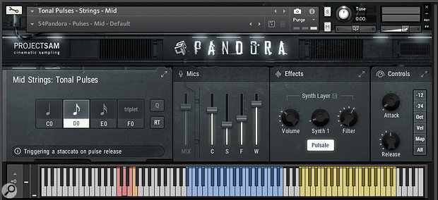Symphobia4: Pandora's 'pulses' are looped short-note repetitions which generate an instant propulsive groove from one key press. The extra yellow keys hold soft, looped sustain samples corresponding to the pulse performances in the blue region.