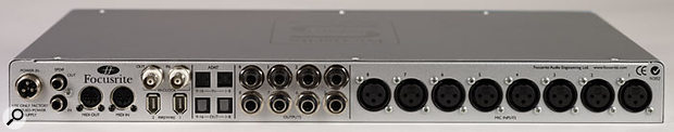 Many modern USB and Firewire audio interfaces, including the Focusrite Saffire shown here, feature ADAT inputs and outputs. They can be used, along with additional A-D and D-A converters, to increase the number of analogue inputs and outputs that can be routed into and out of software, and allow the user to upgrade their setup (adding higher quality preamps, for example) at any time after purchase.