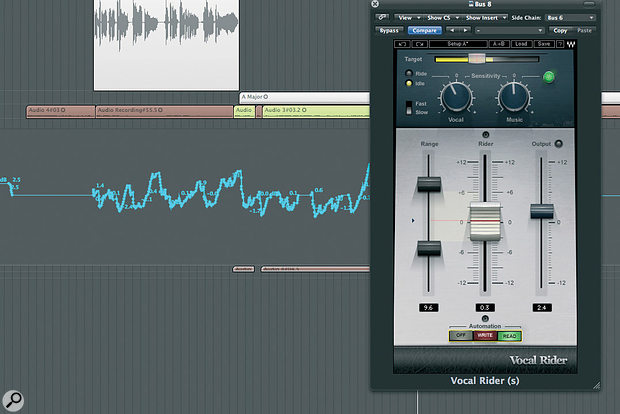 While plug-ins such as Waves' Vocal Rider can ease the burden of vocal level automation — and can achieve more than a traditional compressor in this respect — they can't understand lyrics or feel what needs doing and when!