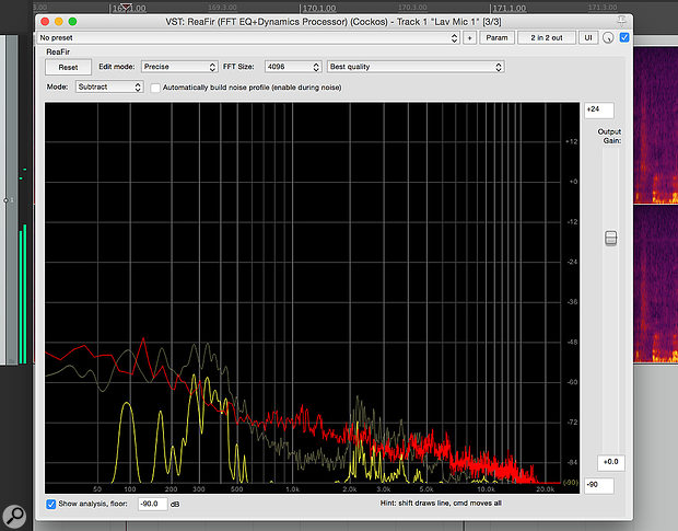 ReaFIR is typical of the FIR-based noise reduction software that captures and analyses a'fingerprint' of the offending noise and then attempts to remove it from the wanted signal. But no such processor will give you perfect results — it's much better to eliminate noise at source where possible.