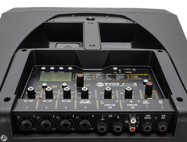 The mixer section and inputs are all located on the subwoofer's top panel.