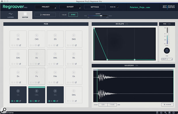 The Kit Editor lets you create drum kits with slices from the layers and other samples.