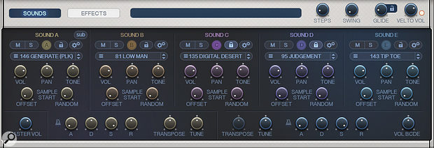 The Sounds panel allows you to select, and then customise, up to five different sounds to use within a single pattern.