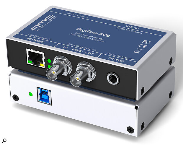The Digiface AVB measures just 112 x 26 x 83 mm and includes an RJ45 port, a pair of BNC word‑clock connectors, a headphone port and, round the back, a USB port for computer connection.