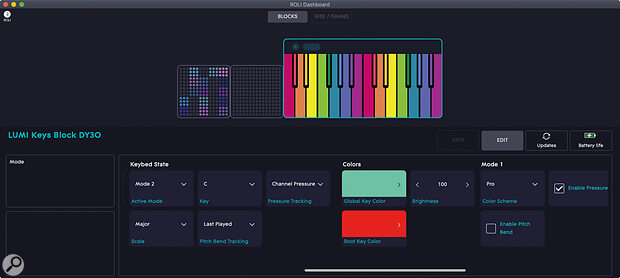 Dashboard setup: configuring the four modes of the LUMI.