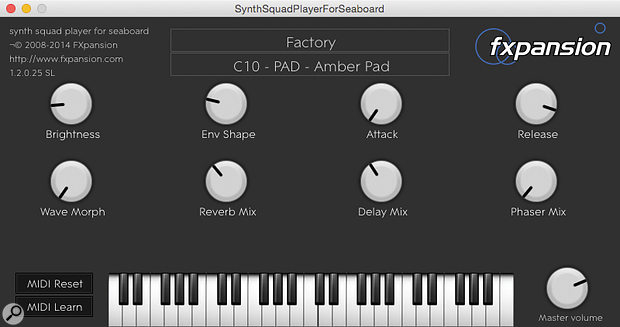 FXpansion's Synth Squad, part of the Seaboard software bundle, offers a distinct sound palette and this simplified front-end. It's a shame those macro knobs have no physical counterparts on the Seaboard though.