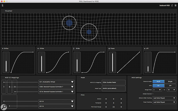 The ROLI Dashboard for Rise utility is a graphical front end for various configuration aspects of the hardware controller, including its 5D touch settings, represented by the central 'graphs' here. The Visualiser section depicts touches on the keywave surface in real time: as you play, circles move and throb and the grid background distorts. Cosmic.