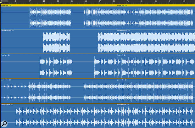 Screen1: Most of these guitar parts use a'clean' sound, but nevertheless, there is noticeable hiss.