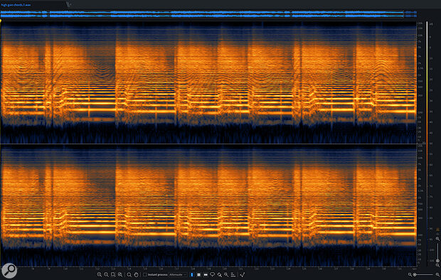 Screen 6A: The offending guitar part before (top) and after (below) de-noising. The results are clearly visible in the upper area of each channel's frequency display.