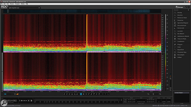A rogue click is clearly visible in RX4's spectral display.
