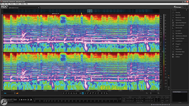 With their hefty low–frequency content, vocal plosives are obvious as the blobs at the bottom of the spectral display.