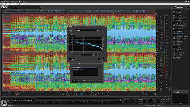 RX4's EQ Match feature is more basic than its counterpart in iZotope's own Ozone mastering software.