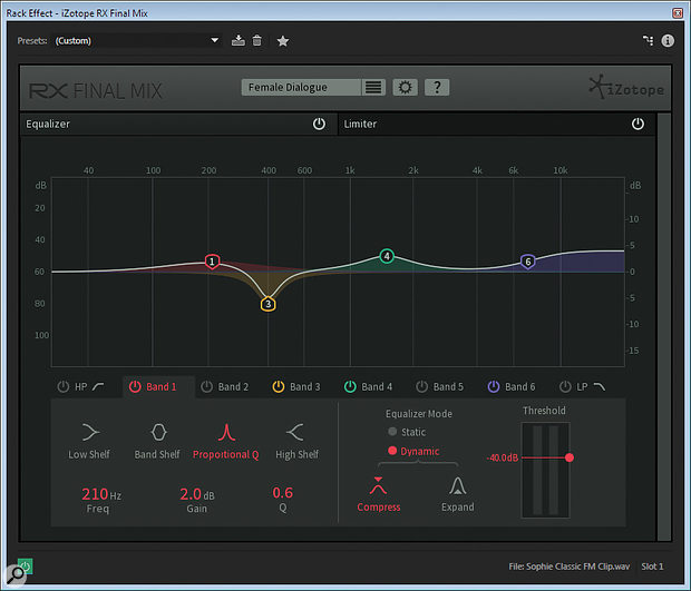 Final Mix incorporates dynamic EQ that is optimised to increase the intelligibility of dialogue.