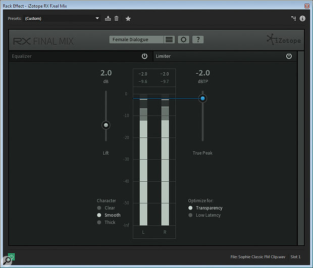 The other main element of Final Mix is a simple-to-use limiter.