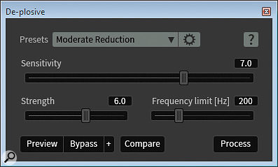 The dedicated De-Plosive module is a new addition to RX5 Advanced.
