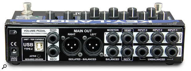 The Key Largo can accommodate three stereo line inputs, has an effects send/return loop, provides transformer-balanced XLR line outputs, and incorporates atwo-in/two-out USB interface.