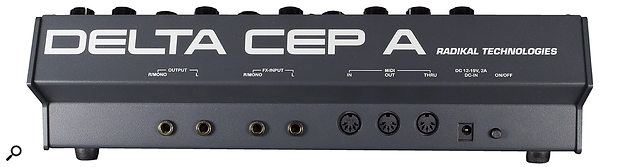 The Delta CEP A's rear panel hosts quarter-inch audio outputs and effects inputs, along with MIDI In, Out and Thru on five-pin DIN ports.