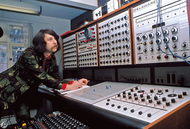 Radiophonic Workshop composer Malcolm Clarke (1943-2003) with the EMS Synthi 100 modular synth known as Delaware.