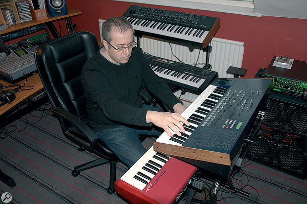 The Prophet 08, Roland XP‑30, Korg MS2000 and Nord Electro 2.