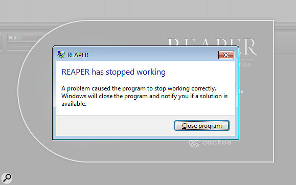 Nobody wants to see this error message from their DAW, but with Reaper, at least you can attempt a  graceful recovery.
