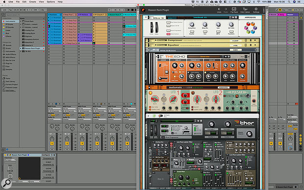 The Reason Rack running as a  plug-in within Ableton Live.