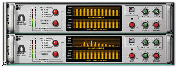 The spectra of two different modulator sources. The top is white noise and the bottom is a sawtooth wave.