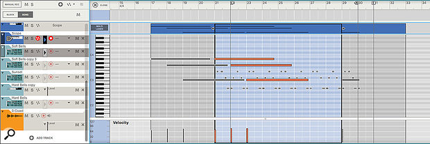 Multitrack MIDI Editing lets you see and edit MIDI notes from multiple lanes in a single overlaid view.