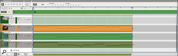 Screen 1: Three MIDI clips in the regular Arrangement view.