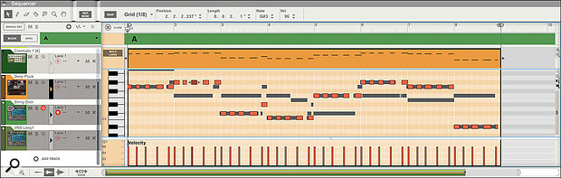 Screen3: With the synth track focused, it's easy to see the relationship between the bass line and the synth parts.