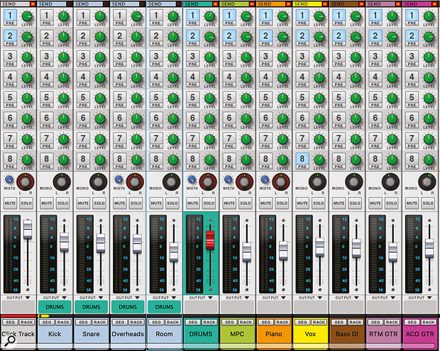Screen 2. In the Mixer I've submixed the drum mics and used Sends to create cue mixes.