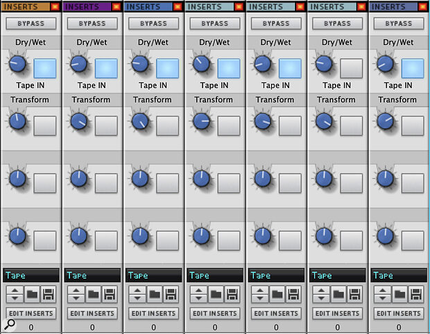 Screen 4. My customised mixer with Tape saturation controls per channel.