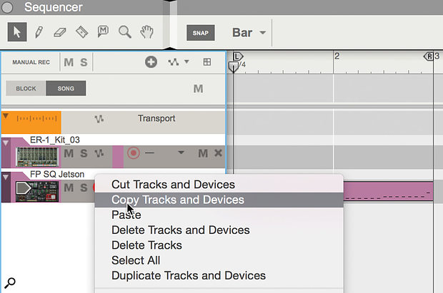 Copying and pasting Tracks also brings in associated devices and mixer channels.