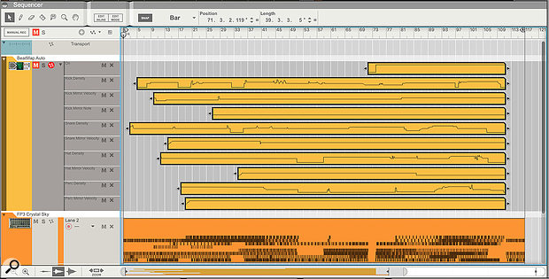 Screen 3. Whole song arrangements can be made by automating BeatMap controls, and this can be converted to a MIDI track.