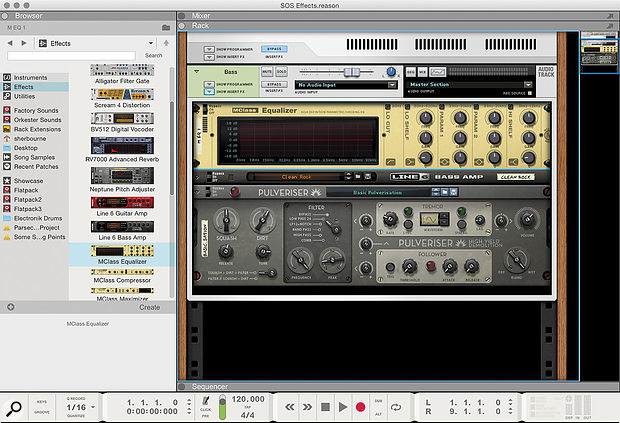 1: An effects chain inside the Inserts section of an Audio Track. Effects units can be dragged here from the Browser.