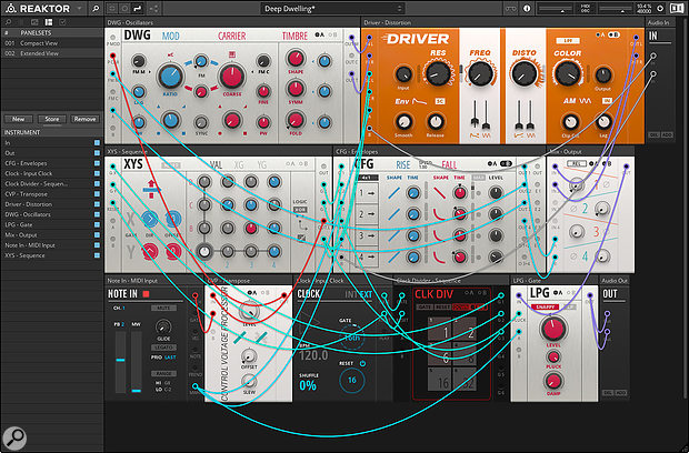 Screen 2: Reaktor has dedicated Audio In and Out modules. Here, two audio sources from the Reason Rack are patched to CV inputs on the Driver and CFG modules.