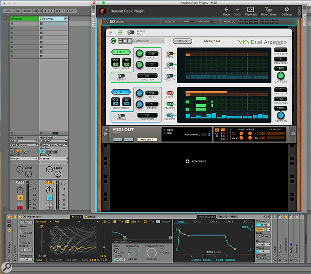 Screen?1. Using a Reason Player to arpeggiate Ableton's Wavetable synth. MIDI from the master keyboard is processed in the Reason Rack and routed back to the DAW via the MIDI Out device.