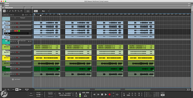 Screen 1. Recording multiple takes down the timeline is a quick and safe way to work, especially if you're playing in the band as well as running the session.