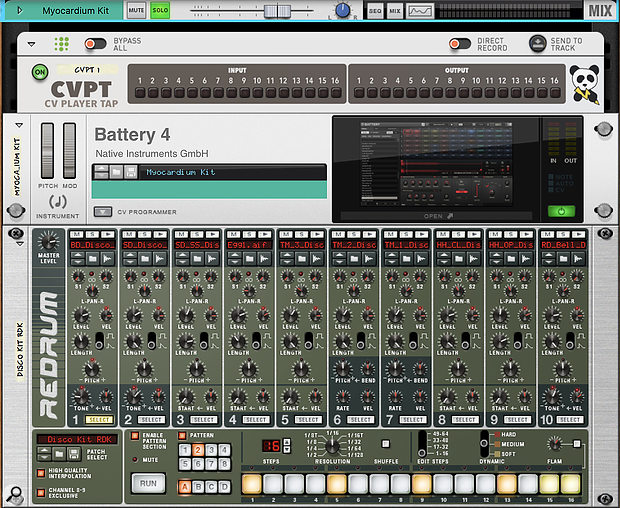 Screen1: With the CVPT Player connected, you can sequence plug‑ins like Battery from Redrum or other Rack devices.