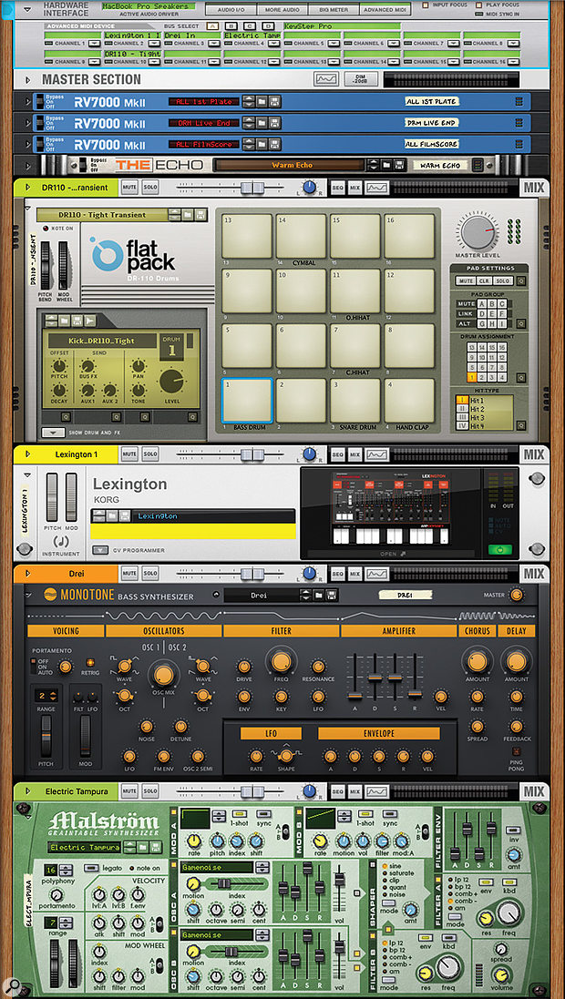 My KeyStep Pro sequencing Rack, with a drum machine and three synths.