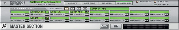 Screen3: The Advanced MIDI panel of the Rack's Hardware Interface lets you patch incoming MIDI channels to devices.
